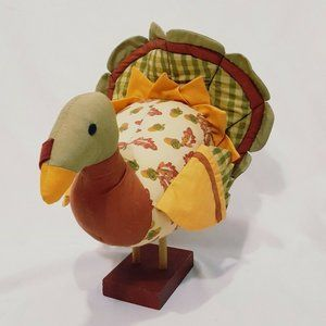 Turkey Figurine Fabric Thanksgiving Day Stick Legs